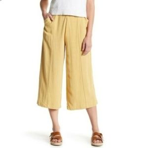GOOD LUCK GEM High Waisted Linen Wide Leg Culotte